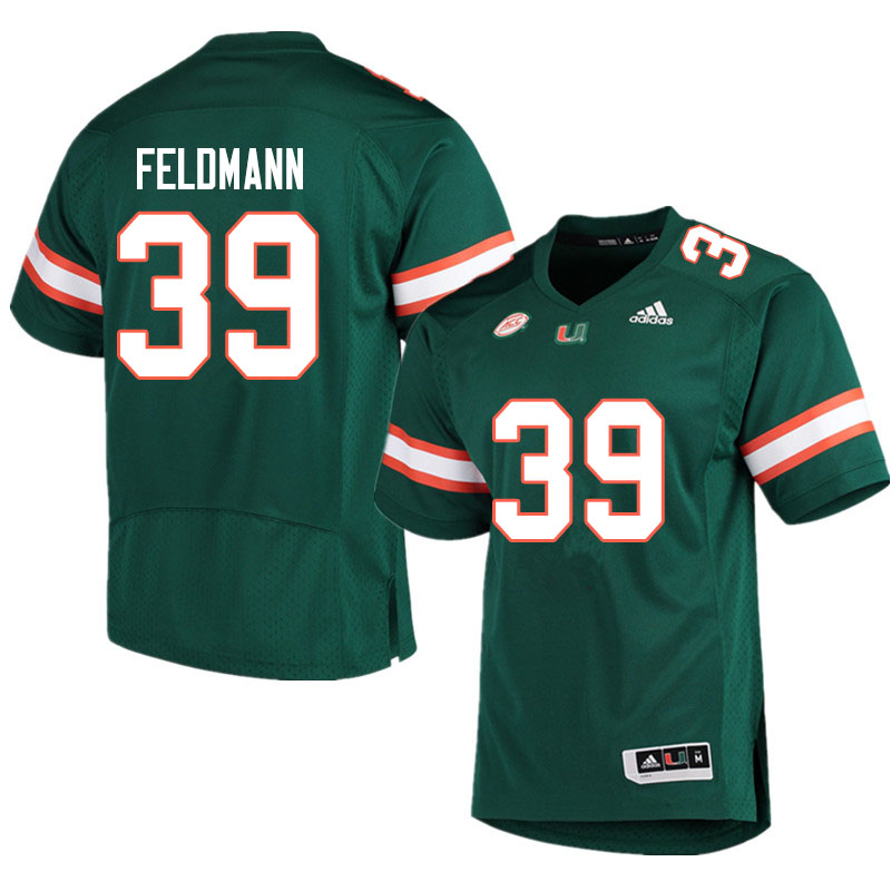 Adidas Miami Hurricanes #39 Gannon Feldmann College Football Jerseys Sale-Green